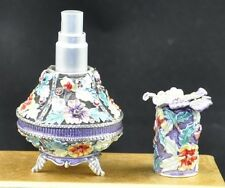 Flower Jeweled Perfume Spray Bottle Fragrance Container Decoration #A50