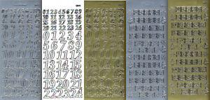 Zier-Sticker-Bogen-Adventkalender-Zahlen- gold oder silber-9019 / 9106