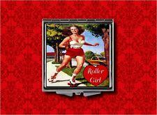 ROLLER GIRL SKATE VINTAGE AD DERBY MAKEUP POCKET COMPACT MIRROR