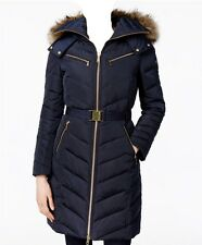 NWT MICHAEL Michael Kors Faux Fur Hood Belted Down Puffer Coat  Navy (XS)