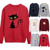 Women Cat Printing Round Neck Long Sleeve Tops Casual Blouse Sweatshirt New
