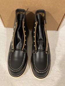 New Red Wing Black Klondike Irish Setter Moc Toe Boots 9874 Sz 8E Factory 2nds