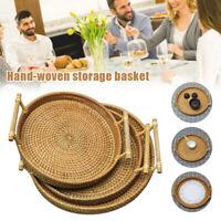 Hand Woven Wicker Rattan Storage Basket Round Bread Fruit Snack Tea Cup Tray