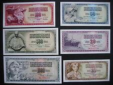 YUGOSLAVIA  10 + 20 + 50 + 100 + 500 + 1000 Dinara 1978  (P87 - P92)  UNC
