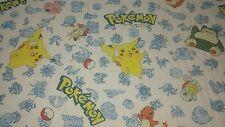 Vintage 1998 Nintendo Pokémon Sheet 64x90 Full Flat Sheet USA Cotton Blend