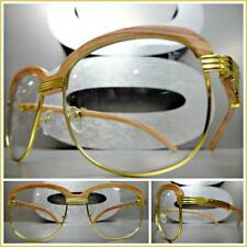 Mens CLASSY 70s Retro Style Clear Lens EYE GLASSES Gold & Faux Wood Wooden Frame