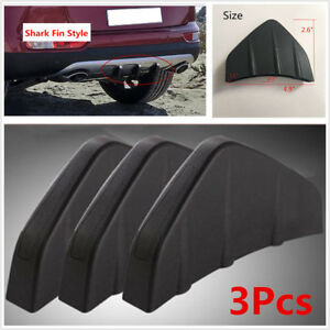 3Pcs Universal Black PVC Rear Bumper Diffuser Molding Point Garnish For All Cars