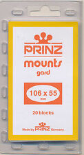 Prinz Scott Stamp Mounts Size 106/55 CLEAR Pack of 20
