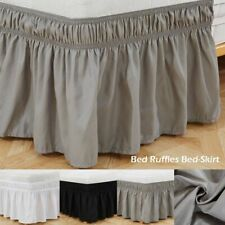 Elastic Bed Ruffles bed Skirt Wrap Around win Full Queen King Size Solid Soft