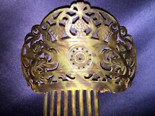 Antique Victorian Hand Carved Faux Tortoise Shell Hair Comb Grapes Leaves Stars