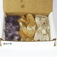 3 Crystal Collection 1Lb Lots Natural Points Chunks Citrine Quartz Amethyst
