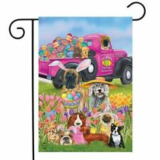 FM136 CUTE EASTER PUPPY DOGS EGGS TULIPS  GARDEN FLAG 12
