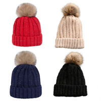 EG_ Women Fur Pom Pom Ball Knit Baggy Hat Beanie Beret Ski Cap Winter Gracious