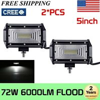 "2X 5"" Inch 72W Flood LED Work Light Bar Truck Offroad SUV Driving 4WD Waterproof"
