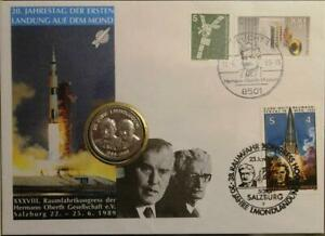 BRD WEST GERMANY 1989 Numisbrief Coin Mail Space Raumfahrt Congress Oberth