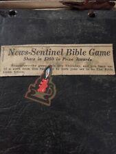 1934 Vintage News Sentinel Bible Game Book