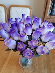 3 DOZEN - WHITE/ PURPLE WOODEN ROSE BUDS 5 X 8 ARTIFICIAL FLOWERS