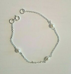 Bracelet Chain 925 Silver and Freshwater Pearl Charm UK Seller Free Postage