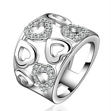 925 Sterling Silver SF Hollow Heart Inlay Cubic Zirconia Thumb Party Ring Size 8