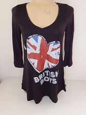 DUTCH AND HARLEY New tunic top I HEART BRITISH BOYS size Women JUNIORS Large