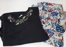 Breckenridge 2X Top Lot of 2 Plus Womens Shirts Knit black Floral Button down
