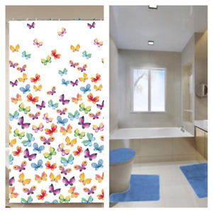 16PC BATHROOM SET PRINTED SHOWER CURTAIN HOOKS W/MATCHING SOLID BATH MATS NEW