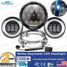 "7"" Black LED Daymaker Projector Headlight Passing Fog Lights For Harley Touring"