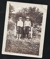 Vintage Antique Photograph Two Little Boy Wearing Caps and Knickers