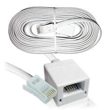 15m BT TELEPHONE PHONE EXTENSION CABLE | 6-Wire Socket Fax Modem Extension Lead