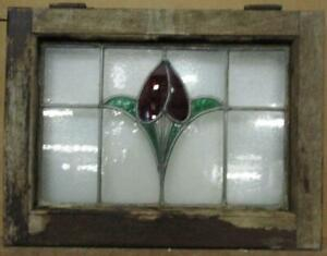 """OLD ENGLISH LEADED STAINED GLASS WINDOW Pretty Tulip Design 22.5"""" x 17"""""""