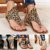 Women Flat Sandals Breathable Anti-slip Back Zipper Open Toe for Summer Beach