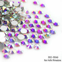 1440pcs Crystal AB Non Hotfix FlatBack Rhinestones 3D Nail Art Decoration HOT