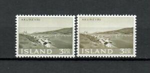 s34134 ISLAND ICELAND ISLANDA MNH 1963 Akureyri 1v + 1v varietà di colore