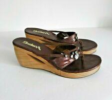"❤ SKECHERS CALI Size UK 7 Lovely Brown Slip on Sandals 3.25"" Wedge Heel VGC"