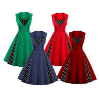 Ladies 50s Rockabilly Evening Party Housewife Vintage Polka Dots Swing Dress