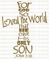 John 3:16 Vinyl Decal Sticker Bible Verse Cross Shaped Religious Christian