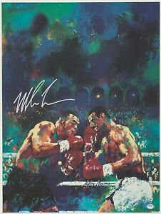 LEROY NEIMAN MIKE TYSON SIGNED 22X30 LITHOGRAPH MICHAEL SPINKS FIGHT PSA/DNA COA