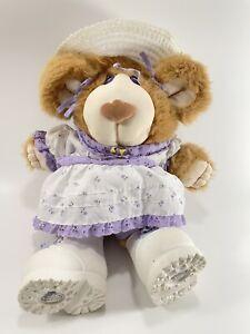 Vtg1985 Furskins Xavier Roberts Plush Lila Claire Lilac Purple Dress Teddy Bear