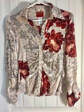 KENZO Jungle Floral Long Sleeve 100% Silk Button Up Blouse Size 36