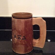 Fratern Alpha Xi Delta Mug Kahuna Wood W/ Handle 2 Pc Sorority Cup Tiki Hawaiian