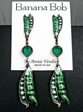 BANANA BOB Vtg PEAS IN A POD Dangle GREEN CRYSTAL Rhinestone Pierced Earrings