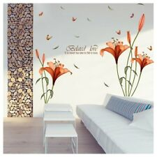 Orange Lily Flower Decal Wall Sticker Mural DIY Art Room Home Decor Removable