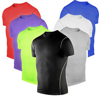 Mens Compression Thermal Under Base Layer Top Short Sleeve Sport Tights T-shirts