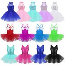 Children Girls Ballet Dance Dress Kids Sequins Leotard Tutu Dancewear Costumes