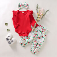 3PCS Set Toddler Kid Baby Girl LongSleeve Romper Top+Floral Pants Outfit Clothes