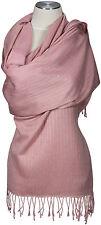 Schal handbestickt 70% Cashmere 30% Seide silk Rosa light pink stole embroidered
