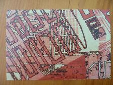 POSTCARD...COTTON PULP ART...TITLED KONSTRUKTIONSZEICHNUNGEN RED...GEOMETRIC