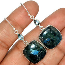 Larvikite Stone Black Moonstone - Norway 925 Silver Earrings AE123535