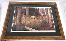 "Vintage 33"" Wood Framed Hayden Lambson Limited Edition October Ritual Deer Print"