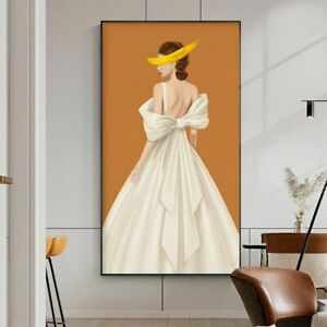 White Dress Woman Poster Abstract Princess Figure Modern Canvas Wall Decorations